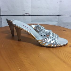 Banana republic silver braided heels prom wedding